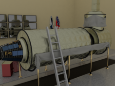 Destiny ISS module in a museum 3D Model
