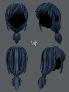 3D Hair style for girl V30 3D Model