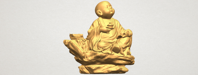 Little Monk Drink Tea 3D Model