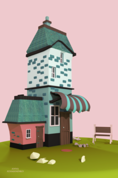 Movie pink low poly house 3D Model