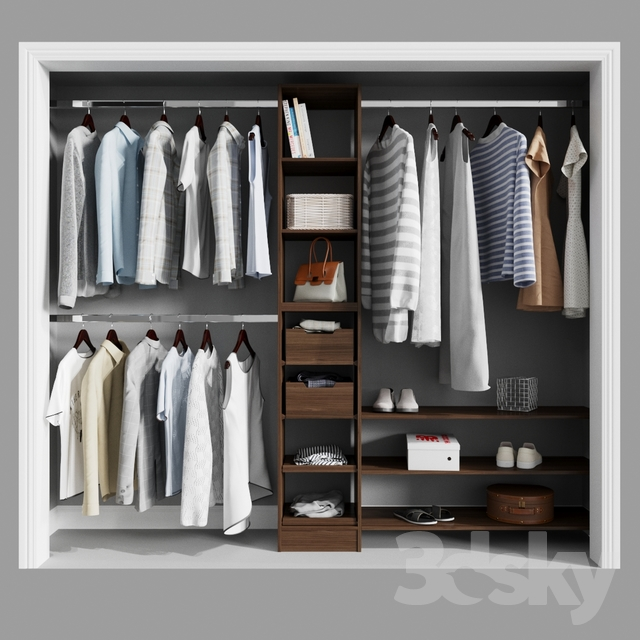 Melamine Reach-In Closet Kit in Mocha                                      3D Model
