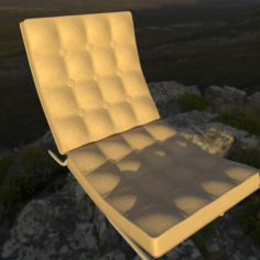 Chair with leather pillow 3D Model