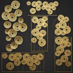 Gold Wall art Sculpture 3D Model