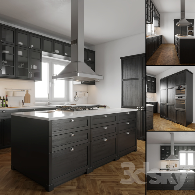 Kitchen Design 3d Model: IKEA LERHYTTAN 3D Model