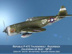 Republic P-47C Thunderbolt – California or Bust – QP-G 3D Model