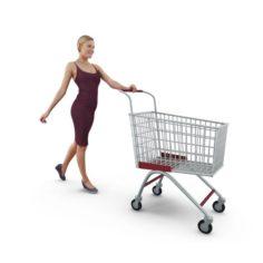 Woman Shopping Cart 3D Model