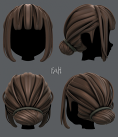 3D Hair style for girl V20 3D Model