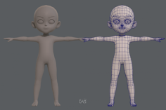 Base mesh boy character V03 3D Model