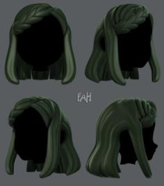 3D Hair style for girl V19 3D Model