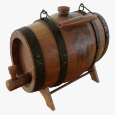 3D Old desktop portable Barrel PBR low-poly 3D Model