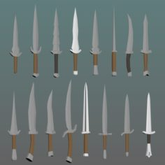 LowPoly medieval knives 3D Model