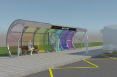 Modern Bus Stop Pavilion 3D Model