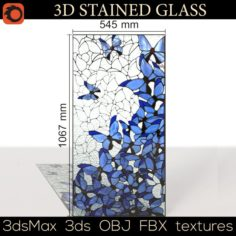 Stained-glass window Butterfly 2 3D Model
