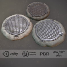 Sewer Hatch Pack 1 Low Poly LODs Three Texture Options 3D Model