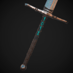 Runic Sword Game Ready 3D Model
