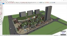 Sketchup Commercial and office residential complex D5 3D Model