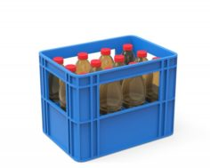 Plastic crate with bottles 3D Model