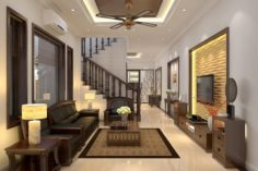 Livingroom and diningroom asian 3D Model