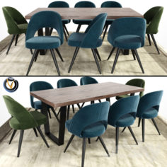 Modrest Gloria And Calia Dining Table With Carpet                                      3D Model