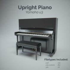 Upright Piano with Stool 3D Model