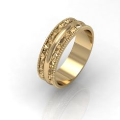 Wedding ring with diamond face 3D Model