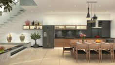 Diningroom and Livingroom tropical 3D Model