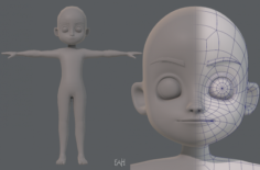 Base mesh boy character V05 3D Model