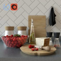 Set for kitchen with cherry tomatoes V-RayCorona 3D Model