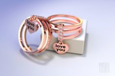 Gold ring love you 3D Model