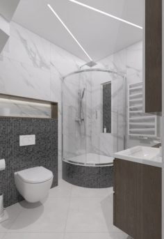 Shower room decorated with mosaic and marble tiles 3D Model