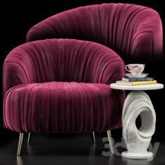 Opal Accent Chair, Papier Mache Wave Side Table                                      3D Model