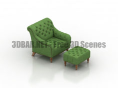 Brady Tufted Leather Chair & Ottoman 3D Collection