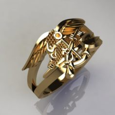 Eagle ring with gun 3D Model