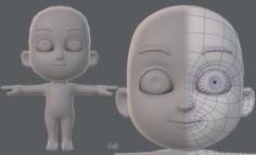 Base mesh child character V02 3D Model