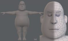 Base mesh man character V09 3D Model