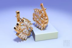 Gold earrings with Marquise stones 3D Model