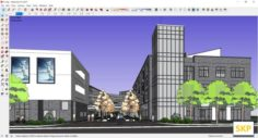 Sketchup Commercial and office complex E1 3D Model
