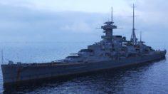 Admiral Hipper-class cruiser with Ta-152 3D Model