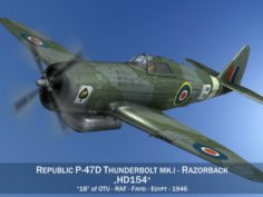 Republic P-47D Thunderbolt MK I – HD154 3D Model