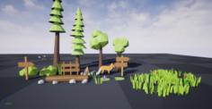 Low Poly Nature Set 21 assets 3D Model