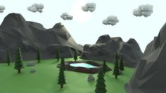 Low Poly Mountain with Crater Lake Scene 3D Model