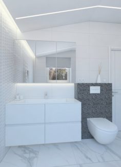 Light shower room with black mosaic bricks 3D Model