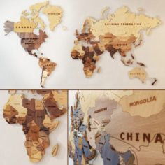 A world map made of wood 3D Model