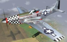 Mustang P-51 D in flight 3D Model