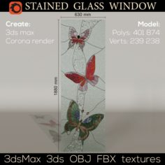Stained glass window Butterfly 3D Model