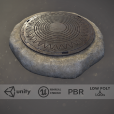 Sewer Hatch v4 Low Poly LODs 3D Model