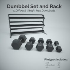 Dumbbell Set and Rack 3D Model
