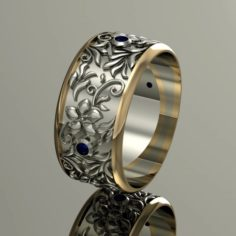 Wedding ring with gems and flowers 3D Model