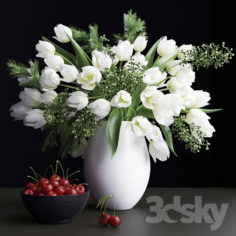 Bouquet of flowers in a vase 25                                      3D Model
