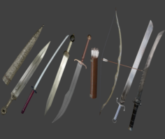 Swords And Bow Com-Pack 3D Model